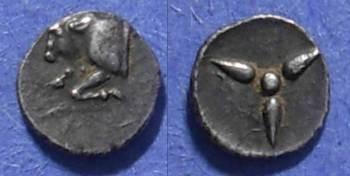 Ancient Coins - Uncertain city, Caria Circa 420 BC, Trihemitetartemorion