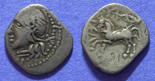 Ancient Coins - Celtic - Aedui Kaletedou type Quinarius 80-50 BC