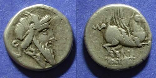 Ancient Coins - Roman Republic, Q Titius 90 BC, Denarius