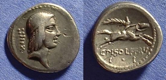 Ancient Coins - Roman Republic - Denarius 67BC Calpurnia 24a