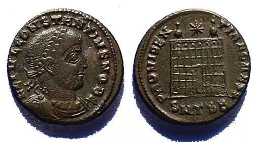 Ancient Coins - Constantius II as Caesar 317-337, AE-3 Campgate