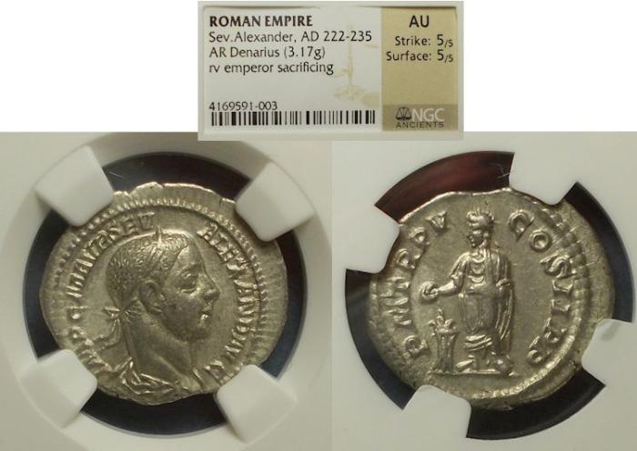 Ancient Coins - Roman Empire, Severus Alexander 222-235, Denarius NGC AU