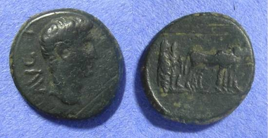 Ancient Coins - Philippi Macedonia – Augustus 27BC – 14 AD – AE18