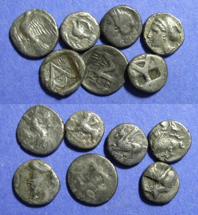 Ancient Coins - 7 silver coins of southern Greece