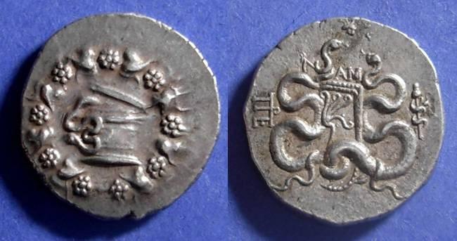 Ancient Coins - Pergamon, Mysia Circa 80 BC, Cistophoric Tetradrachm
