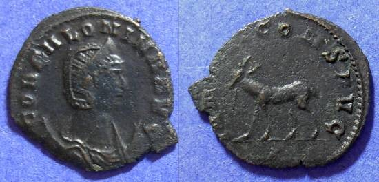 Ancient Coins - Salonina (wife of Gallienus 253-268AD) Antoninianus - deer reverse