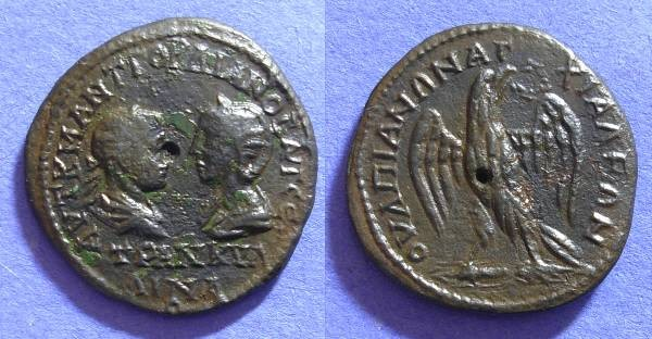 Ancient Coins - Anchialus Thrace - AE26 of Gordian III & Tranquilina