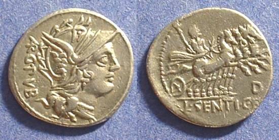 Ancient Coins - Roman Republic - Denarius Sentia 1 - 101 BC