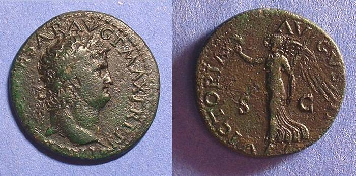 Ancient Coins - Nero 54-68 AD - Dupondius - Victory Reverse