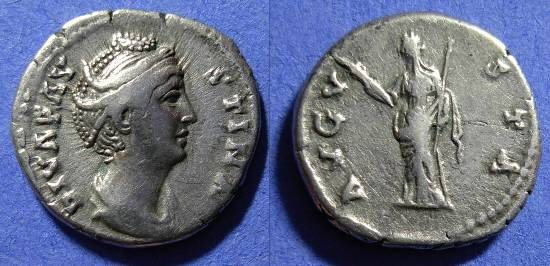 Ancient Coins - Faustina Sr. D.141 - Wife of Antoninus Pius - Denarius