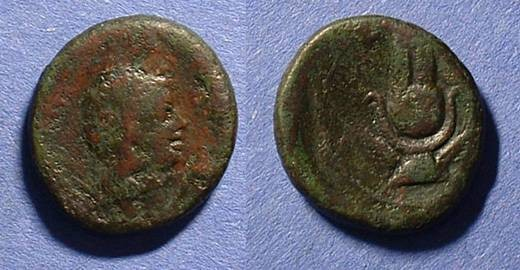 Ancient Coins - Syracuse Sicily AE-20 Roman Rule circa 212-150 BC