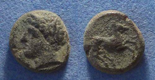 Ancient Coins - Sicily, Siculo-Punic 370-340 BC, AE14