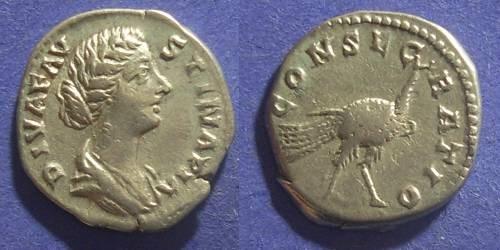 Ancient Coins - Roman Empire, Faustina Jr d.175 AD, Denarius