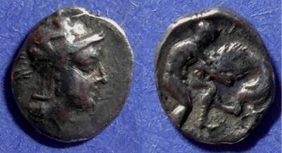 Ancient Coins - Taras, Calabria 302-281 BC, Diobol