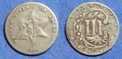 Us Coins - United States,  1860, Silver 3 Cent