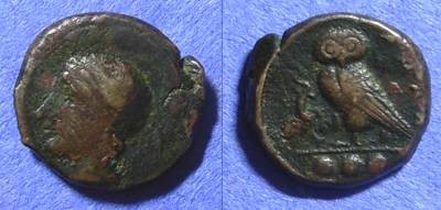 Ancient Coins - Kamarina Sicily AE Trias - 413-405 BC