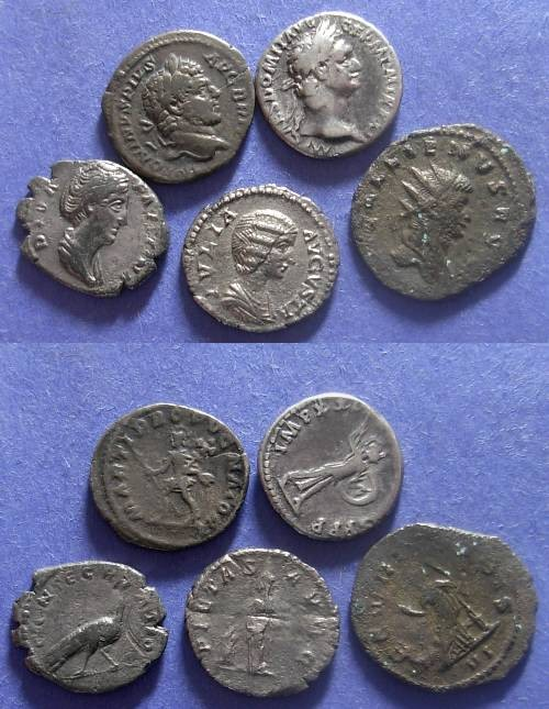 Ancient Coins - Roman Empire, Group of 5 Roman Silver Coins 81-268 AD,