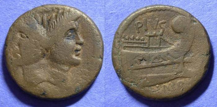 Ancient Coins - Roman Republic - Sextus Pompey 43-36BC : son of Pompey the Great - Aes