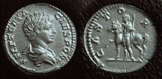 Ancient Coins - Geta (as Caesar) 198-208AD Denarius with Castor reverse - Slabbed ICG EF40