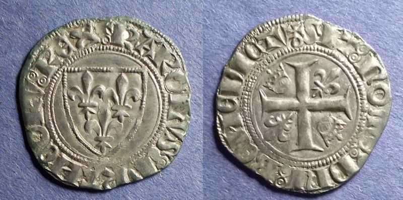 World Coins - France, Charles VI 1380-1422, Blanc Guenar