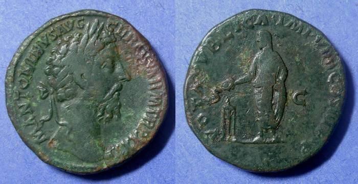 Ancient Coins - Roman Emipre, Marcus Aurelius 161-180, Sestertius