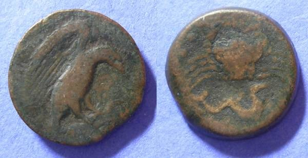 Ancient Coins - Akragas Sicily - Hemilitron (25mm diameter) Circa 420 BC