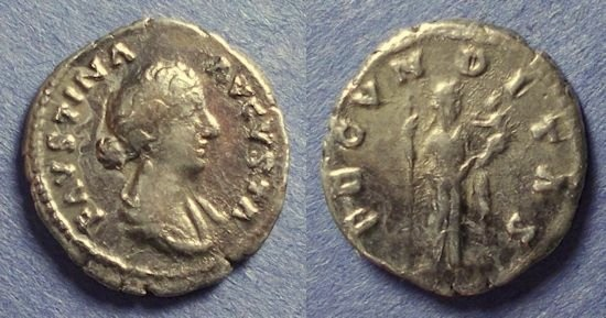 Ancient Coins - Roman Empire, Faustina Jr D. 175, Denarius