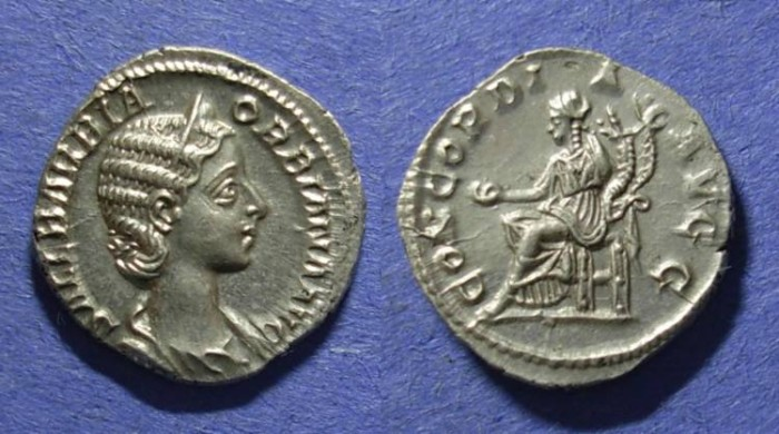 Ancient Coins - Roman Empire, Orbiana Struck 225 AD, Denarius