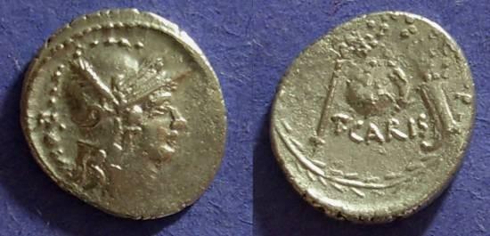 Ancient Coins - Roman Republic - T. Carisius Denarius 46 BC