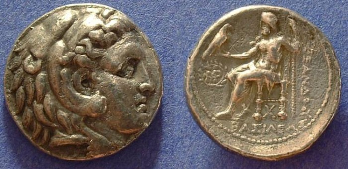 Ancient Coins - Macedonian Kingdom - Tetradrachm of Alexander III (Posthumous issue)