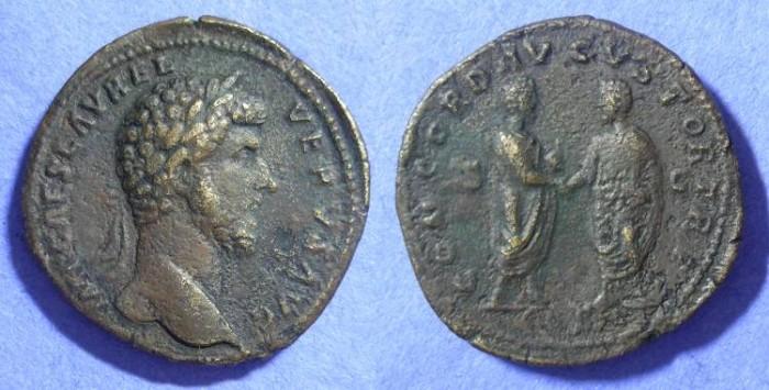 Ancient Coins - Lucius Verus 161-9AD Sestertius