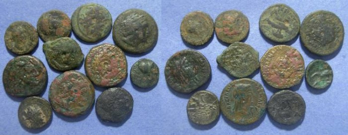 Ancient Coins - 11 Greek Bronze coins, Circa 250 to 50 BC ,
