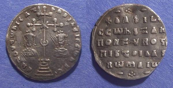 Ancient Coins - Byzantine Empire, Basil II with Constantine VIII 976-1025, Miliaresion