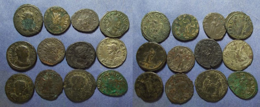 Ancient Coins - Roman Empire, Group of 12 Bronze Antoninianii 268-284,