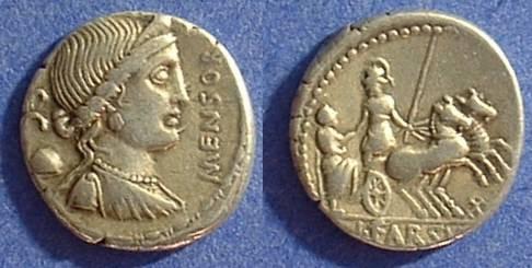 Ancient Coins - Roman Republic Denarius - Farsuleia 2 - 75BC