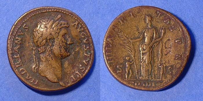 Ancient Coins - Hadrian 117-138AD Sestertius
