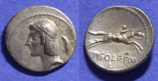 Ancient Coins - Roman Republic – Calpurnia 25c Denarius 67BC