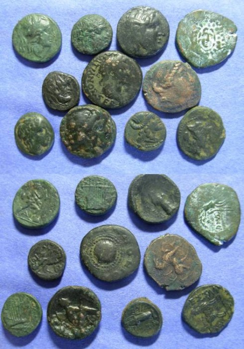 Ancient Coins - 11 Greek AE