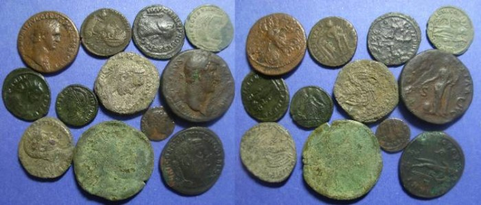 Ancient Coins - Group of 12 Roman AE