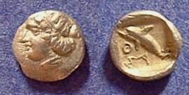 Ancient Coins - Thasos (Island off Thrace) Hemiobol  411-350 BC - Gorgeous!
