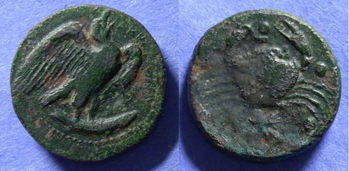 Ancient Coins - Akragas, Sicily Circa 410 BC, Hemilitron