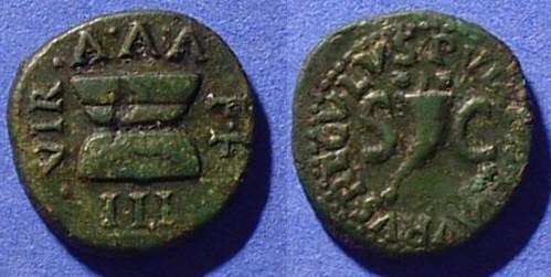 Ancient Coins - Augustus 27BC-14AD - Quadrans  - Struck 8BC