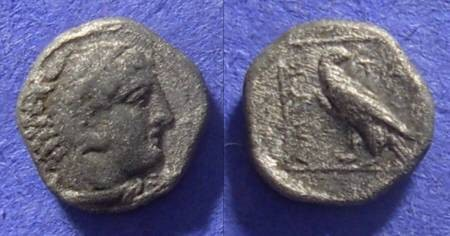 Ancient Coins - Macedonian Kingdom: Amyntas III 393-369BC – Trihemiobol
