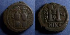 Ancient Coins - Byzantine Empire, Justin II 565-578, Follis