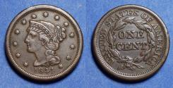 Us Coins - United States,  1844,  Braided Hair Cent