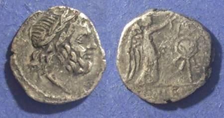 Ancient Coins - Roman Republic, Cn Lentulus Clodianus 88 BC, Quinarius