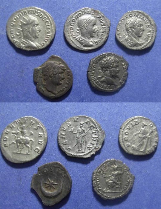 Ancient Coins - Group of 5 Roman Silver - Hadrian to Decius
