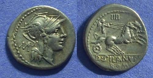 Ancient Coins - Roman Republic - D Junius Silanus Denarius. 91 BC