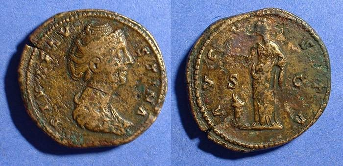 Ancient Coins - Faustina Sr (Wife of A Pius) d.141 AD Sestertius (posthumous)