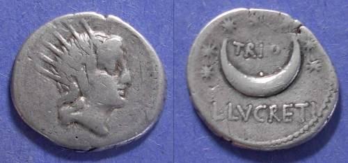 Ancient Coins - Roman Republic, L Lucretius Trio 76 BC, Denarius